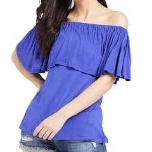 American Eagle Royal Blue Off The Shoulder Tee